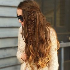 beachy waves and a side fishtail braid claire_hair