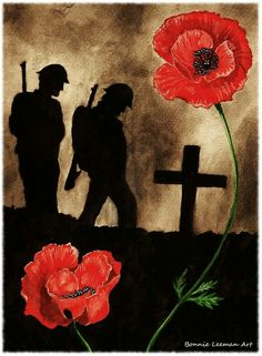Watercolour painting I have done for Armistice Day. page [link] Lest We Forget Deviant Art, Remembrance Day Poppy, Remembrance Day Drawings, Remembrance Day Photos, Soldier Silhouette, Ww1 Art, Classe D'art, Poppy Craft, Armistice Day