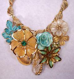 Sally Sells Seashells Statement Necklace Upcycle Vintage