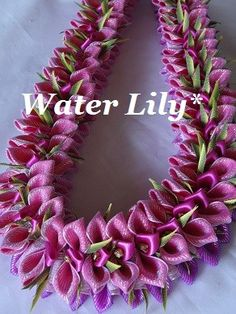 Water Lily - Monstera In Hawaii* Wai Lani* Ribbon Lei* リボンレイ メイキング 自宅教室