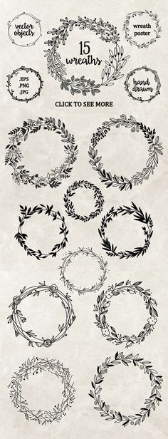 Perfect wreaths for doodling! Try these bullet journal and planner doodles today. Embroidery Designs, Embroidery Stitches, Machine Embroidery, Etsy Embroidery, Wedding Embroidery, Creative Embroidery, Paper Embroidery, Flower Embroidery, Diy Hand Embroidery Letters