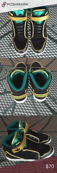 reputable site aa3f4 657e1 ADIDAS SNEAKER SHOES MENS BLACK, GREEN GOLD Q32625 These are ADIDAS MARDI  GRAS SNEAKER SHOES