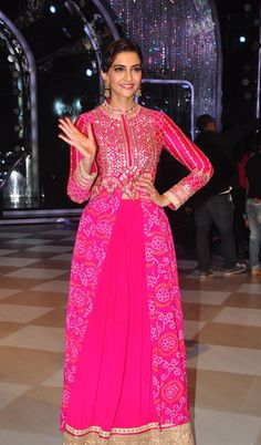 Sonam Kapoor in Pink Anita Dongre Anarkali Suit with BandhaniRecently Bollywood actress was spotted at the sets of Jhalak Dikhhla Jaa season 7 on in Mumbai. Co- star Pakistani actor Fawad Khan who ...