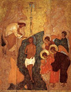 The Baptism of Christ, Russian Icon, Christus Rex. Byzantine Icons, Byzantine Art, Religious Icons, Religious Art, Baptism Of Christ, Russian Icons, Religious Paintings, Russian Painting, John The Baptist