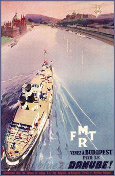 Art Poster: #FreeShipping Budapest Hungary 1933 Via The Danube River Vintage Poster Art Print Travel Ship