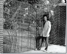 """April Elvis Presley had his custom built 'Music Gates' installed at Gracelands. The gates were designed by Abe Saucer and custom built by John Dillars Jr, of Memphis Doors inc. Elvis Presley purchased Graceland on March Elvis Presley Graceland, Elvis Presley House, Elvis Presley Photos, Elvis Presley Biography, Graceland Mansion, Memphis Tennessee, Lisa Marie Presley, Priscilla Presley, El Rock And Roll"