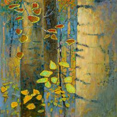 Feast of Silence Abstract Tree Painting, Yellow Painting, Abstract Nature, Landscape Art, Landscape Paintings, Rick Stevens, Bright Colors Art, Organic Art, Leaf Art