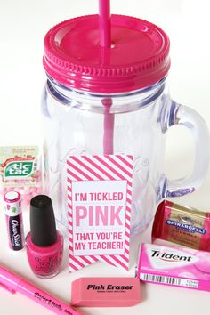"Cute Valentines for teacher. ""I'm Tickled Pink That You're My Teacher"" with cute pink gifts: nail polish, erasers, gum, chapstick, etc! Teacher Appreciation Week, My Teacher, Teacher Gifts Back To School, Teacher Presents, Valentine Gifts For Teachers, Teacher Treats, Daycare Teacher Gifts, Teacher Gift Baskets, School Treats"