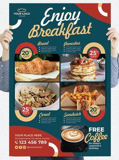 Restaurant Poster Template PSD Restaurant Poster, Poster Templates, Breakfast, Morning Coffee