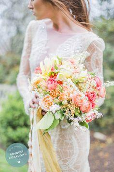 Bouquet Breakdown: Pink + Coral Springtime Medley (Style Me Pretty) Wedding Flower Arrangements, Flower Bouquet Wedding, Wedding Dress, Flower Bouquets, Diy Flowers, Floral Arrangements, Mod Wedding, Floral Wedding, Whimsical Wedding
