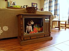 Old TV DIY Pet Bed: The funny thing is that it looks like your pet is on tv! Tv Dog Beds, Pet Beds, Diy Pet, Diy Dog Bed, Old Tv Consoles, Media Consoles, Diy Stuffed Animals, How To Make Bed, Fur Babies