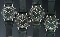 Four watches made for the German military.  Leonidas, Heuer, Heuer, and Sinn.