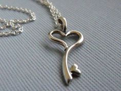Heart+Key+Necklace+Sterling+Silver+Skeleton+by+pinkingedgedesigns,+$24.00