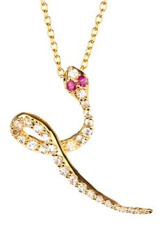 Elizabeth and James White Sapphire & Ruby Gold Pave Snake Pendant Necklace on HauteLook