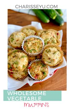 These savory vegetable muffins are incredibly tasty and great as a quick breakfast or snack, and kids love them in lunch boxes! Change up your muffin recipes and add this to the mix. It's packed with vegetables and it's ready in less than 30 minutes. Hidden Vegetable Recipes, Veggie Recipes Healthy, Easy Delicious Recipes, Baby Food Recipes, Snack Recipes, Yummy Food, Muffin Recipes, Tasty, Cupcake Recipes