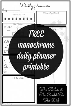 Improve your productivity with this monochrome daily planner. With space for meal planning, syn tracking, water intake and inspirational quote