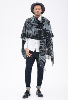 Forever 21 - 21 MEN Fringed Southwestern-Patterned Poncho