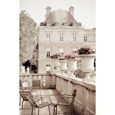 Paris Photo Luxembourg Garden, Paris decor, Neutrals, Gardens, Chairs,... ❤ liked on Polyvore