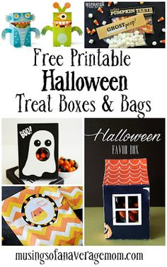 Free printable Halloween treat box templates =, stickers and goodie bag toppers Halloween Treat Boxes, Halloween Crafts For Toddlers, Halloween Party Games, Halloween Costumes For Girls, Halloween Treats, Halloween Diy, Halloween Stuff, Easy Party Decorations, Halloween Stickers