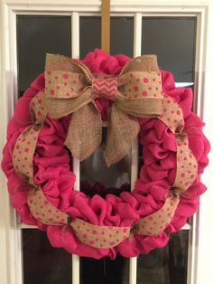 Pink burlap wreath / breast cancer ribbon by RKECreations on Etsy