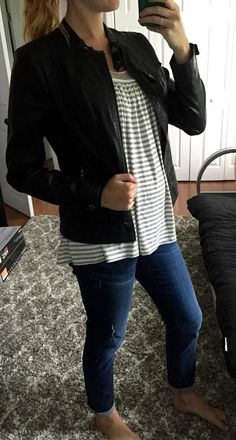Stitch Fix Outfit...Le Lis - Swanson Detail Knit Tank...Andrew Marc - Elodie Collarless Faux Leather Jacket...Just Black - Rogers Distressed Boyfriend Jean...Scrubs By Night Blog  #stitchfix #stitchfixreview #stitchfixmaternity