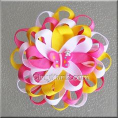 "*price is for 1 hair bow Like a summers breeze!  This beautiful Pink Lemonade Loopy Butterfly Flower measures about 3 1/4"" across made with premium grosgrain ri"