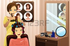 illustration of hairstylist working in a salon