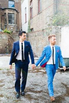 Blue Kooples Suits | Same Sex Wedding In London At The Mildmay Working Mens Club | Images By Naomi Goggin | http://www.rockmywedding.co.uk/tom-jamie/