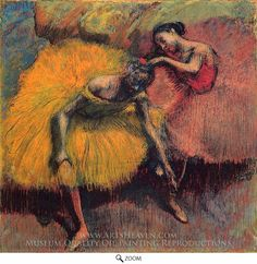 Painting Reproduction of Two Dancers in Yellow and Pink, Edgar Degas