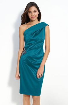 Classy with some bling (Am I describing myself here?). Eliza J Beaded One Shoulder Satin Dress #Nordstromweddings