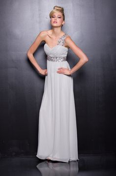 BEAUTIFUL ONE SHOULDER DRESS COMES IN COLORS SILVER, FUCHSIA, WATERMELON ONLY $247.00