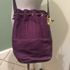 SHARIF bucket bag eggplant purple SALE Sharif bucket bag in eggplant ribbed fabric. Beautiful zig zag stitching. Leather strap, drawstring and bottom. Gold detail.  Measurements 10 wide X 11 tall X 6 deep Sharif Bags Shoulder Bags