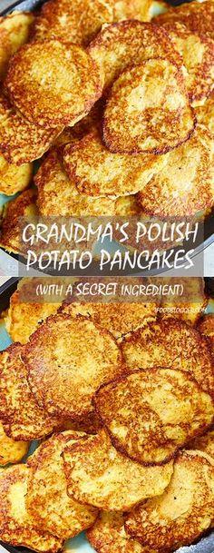 My grandma's Polish potato pancakes recipe - the best potato pancakes I've ever tasted. The recipe has a secret ingredient that makes them retain their beautiful color for a long time. Polish Potato Pancakes, German Potato Pancakes, Recipe For Potato Pancakes, Best Pancake Recipe, Ukrainian Recipes, Potato Dishes, Savoury Cake, Savory Pancakes, Buckwheat Pancakes