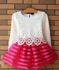 Cheap summer girl dress, Buy Quality girls dress directly from China princess dress Suppliers: Summer Girl Dress Children Girls's Clothing Set Spring Long Sleeve Striped White Pink Princess Dress Dresses Kids Girl, Kids Outfits, Casual Outfits, Baby Dress, The Dress, Dress Lace, Organza Dress, Pink Dress, Lace Skirt