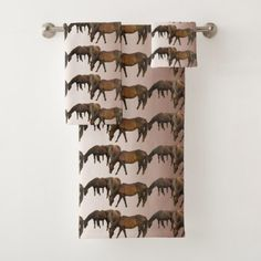 Grazing Brown Horses Pattern Bath Towels - horse animal horses riding freedom