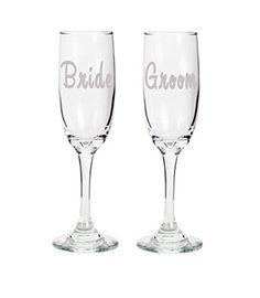 Basic Bride and Groom Champagne Flute, Set of 2, Hand Etched. Set of two basic champagne flutes Bride and Groom. Hand etched glass, dishwasher safe.