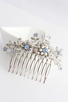 Hey, I found this really awesome Etsy listing at https://www.etsy.com/listing/221399295/wedding-hair-comb-light-sapphire-blue