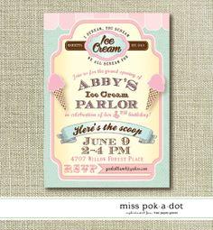 ice cream parlor birthday party invitation by misspokadot on Etsy, $15.00