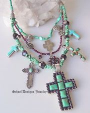 Schaef Designs Turquoise & Garnet charm necklace with vintage native american earrings, pendants, crosses & sleeping beauty turquoise   treasure necklace   Upscale online Southwestern, Equine, & Native American Jewelry Gallery Boutique   Schaef Designs artisan handcrafted Jewelry   San Diego CA
