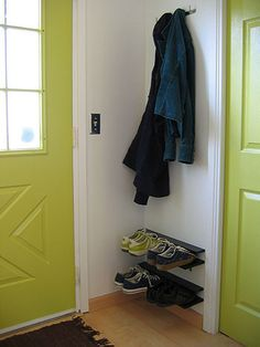 Keep shoes from piling up near your front door via @notmartha