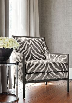 Pasadena Chair from Thibaut Fine Furniture in Etosha Velvet woven fabric in Graphite