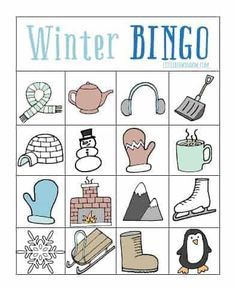 Play a fun game of Winter Bingo with your kids! So this year O's elementary school took the step of making all classroom parties food-free. Which to this food allergy mom, is super awesome exciting news. Plus it's a healthier choice, in my opinion. Winter Activities For Kids, Winter Crafts For Kids, Winter Kids, Preschool Activities, Preschool Weather, Outdoor Activities, Bingo For Kids, Winter Thema, Winter Parties