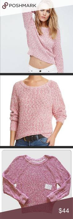 """Free People sweater. Trendy Free people sweater. Cozy sweater cast in a textured knit, Roundneck, Long raglan sleeves, Ribbed trim.  Chest about 17 1/2"""", About 23"""" from shoulder to hem. Size M. Cotton/linen/nylon. Brand new with tag. Free People Sweaters"""