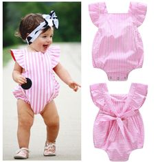 Cheap baby girl romper pink, Buy Quality toddler girl jumpsuit romper directly from China sunsuit toddler Suppliers: Infantil Nowborn Toddler Baby Girl Clothes Pink Striped Princess Romper Jumpsuit Outfits Sunsuit Fashion Kids, Baby Girl Fashion, Toddler Fashion, Winter Fashion, Style Fashion, Baby Outfits, Boys Summer Outfits, Summer Clothes, Baby Girl Romper