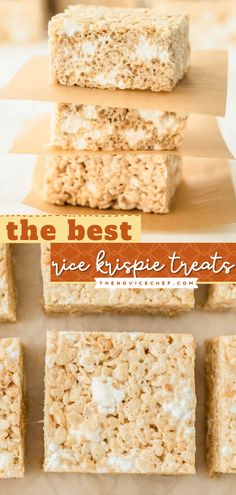 Look no further than The Best Rice Krispie Treats Recipe! Thick, chewy, and filled with extra gooey marshmallows, these no-bake treats are irresistible. Find out the tips to get this dessert idea perfect all the time! Healthy Dessert Recipes, Easy Desserts, Delicious Desserts, Bar Recipes, Yummy Recipes, Best Rice Krispie Treats Recipe, Easy Dessert Bars, Marshmallow Treats