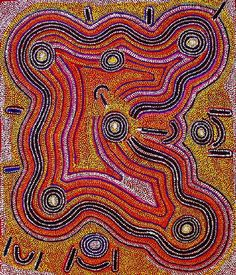 Yuendumu aboriginal painting depicting groups of people burning off spinifex bush to flush out Liwirringki (burrowing skinks) and other goannas for food. Also depicts a ceremony with groups in their places according to protocol, including ceremony owner and kurdungurlu (ceremonial police). The circular motifs are water soakages and rock holes, and the curvy lines represent warlu (fire). In the middle is an old Japaljarri man with his ceremonial pole.