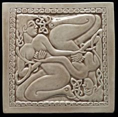 Pottery Sculpture, Wall Sculptures, Sculpture Art, Celtic Patterns, Celtic Designs, Art Nouveau Tiles, Art Deco, Tile Murals, Tile Art