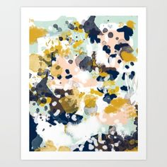 Buy Sloane - Abstract painting in modern fresh colors navy, mint, blush, cream, white, and gold Art Print by CharlotteWinter. Worldwide shipping available at Society6.com. Just one of millions of high quality products available.