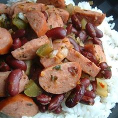 Authentic Louisiana Red Beans and Rice Allrecipes.com [i'll brown the sausage before the veggies and set them aside in the fridge until time to add them ... lots more flavor for veggies, broth, and sausages]