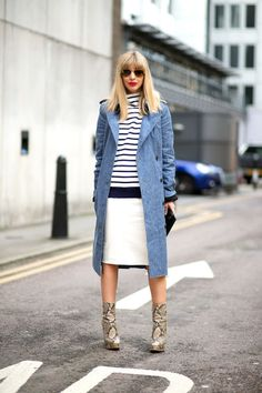 50 outfit inspirations to turn any striped shirt into a simple, chic look: Pair with a coat and skirt